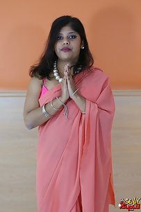 Rupali desi bhabhi in hot pink saree with pink bra and panty