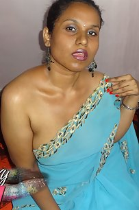 Horny Lily singh in light blue sky color sari after party naked in bedroom