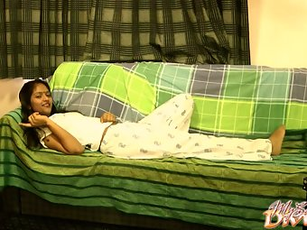 Divya in lounge naked on sofa playing with her firm boobs