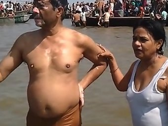 Mature Desi Couple Ganga Snan